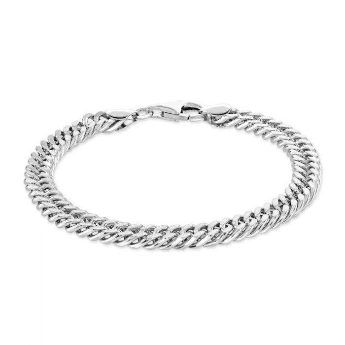 Sterling Silver 6.7mm Double Curb Bracelet Diamond Cut