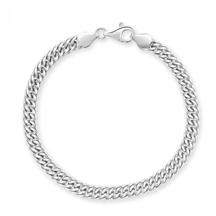 Sterling Silver 5.7mm Double Curb Bracelet Diamond Cut