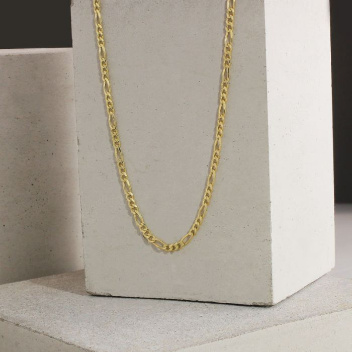 9ct Yellow Gold Plated 3mm Diamond Cut Figaro Chain Necklace