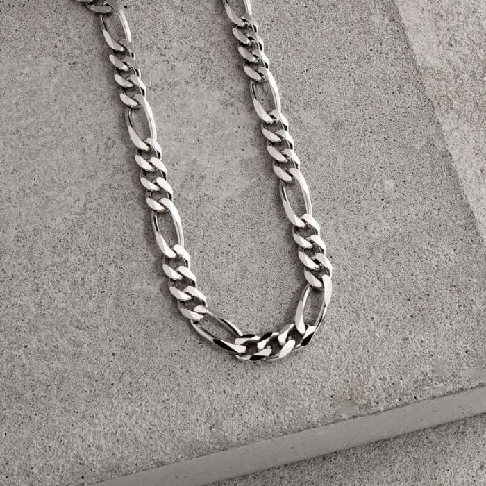 Sterling Silver 5.7mm Diamond Cut Figaro Chain Necklace Heavy