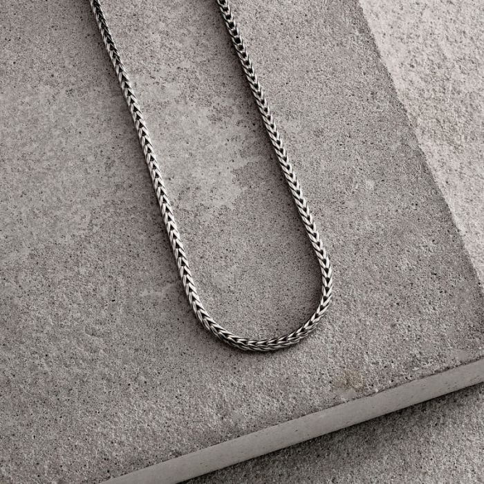 Sterling Silver 2.5mm Rounded Foxtail Chain Necklace
