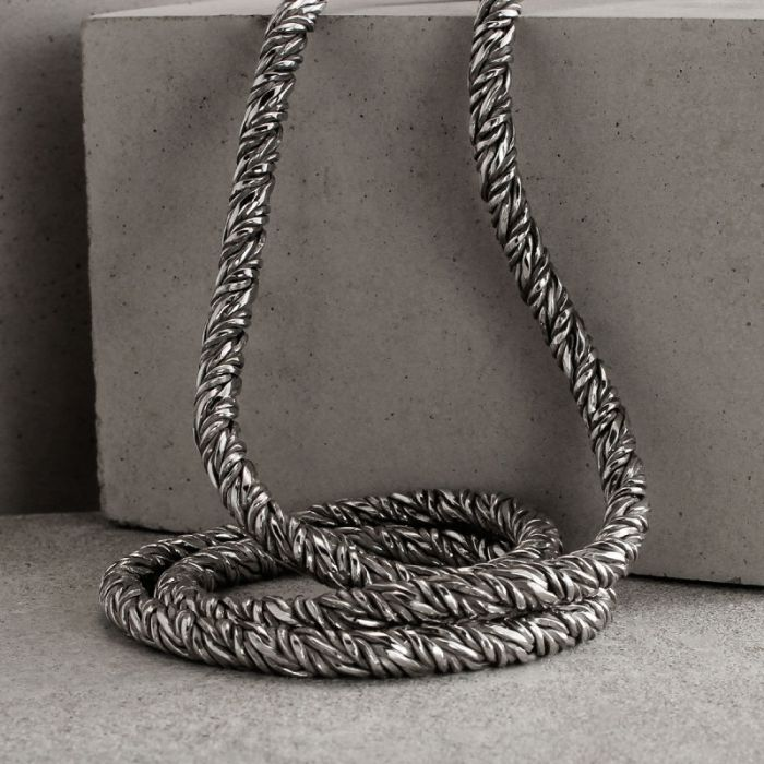 Sterling Silver 4.5mm Twisted Round Foxtail Chain Necklace