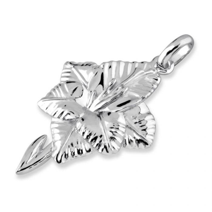 Sterling Silver Gladiolus August Flower Pendant