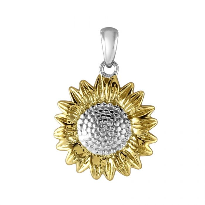 Sterling Silver Sunflower Flower Pendant