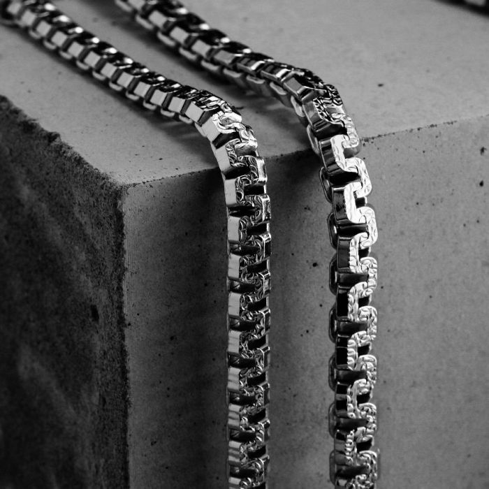 Sterling Silver 5.4mm Greek Box Pave Chain Necklace