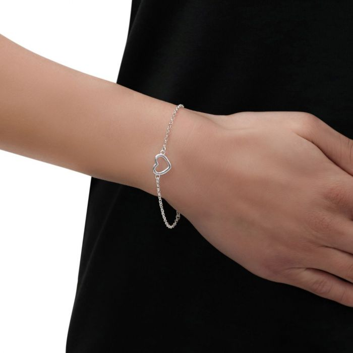 Sterling Silver Heart on Extendable Belcher Link Bracelet