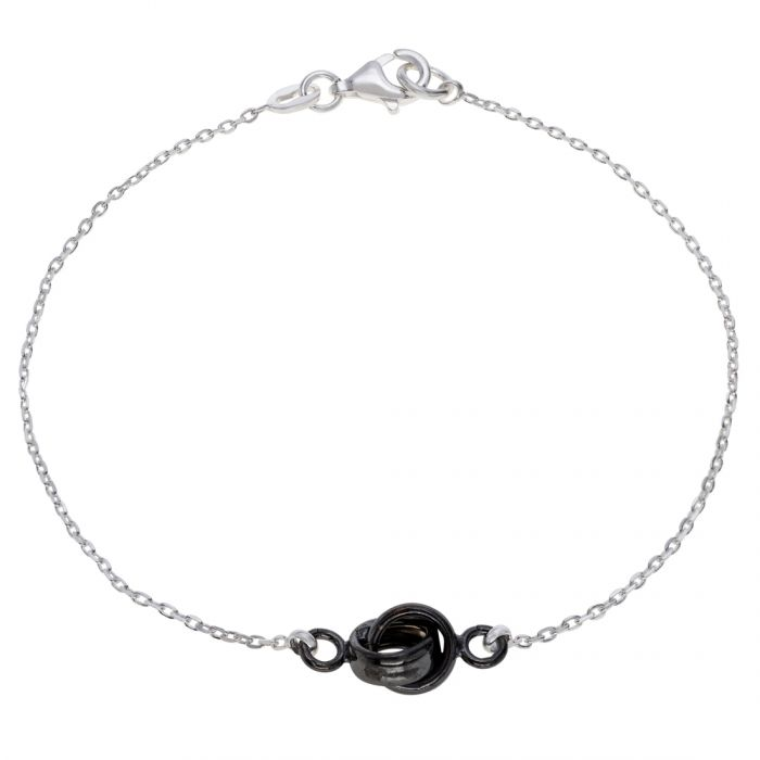 Sterling Silver Infinity Circle Knot Charm Bracelet 7.5