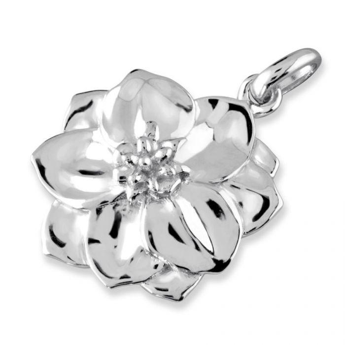 Sterling Silver Larkspur July Flower Pendant