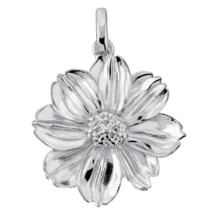 Sterling Silver Marigold October Flower Pendant