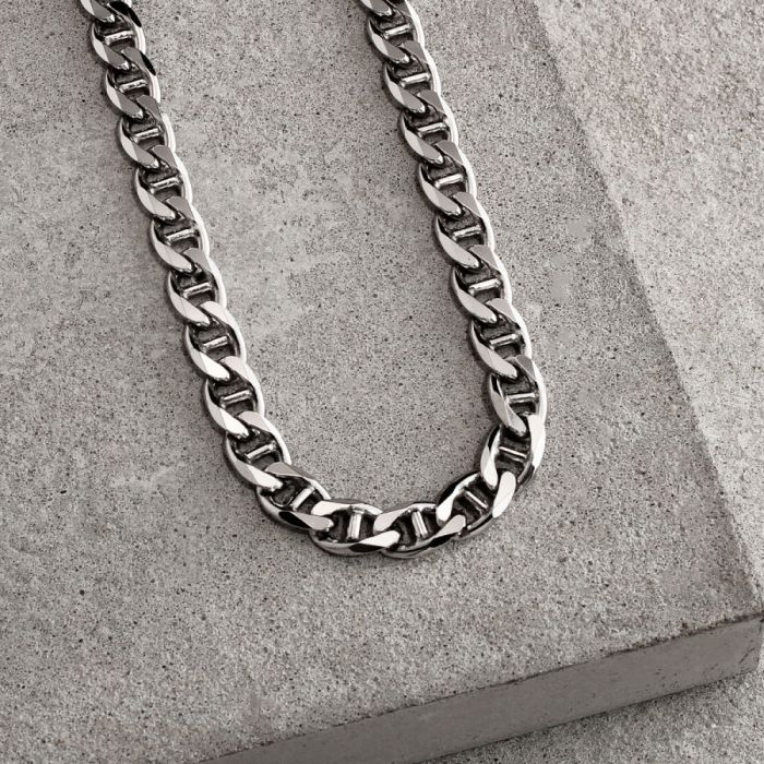 Sterling Silver 6.9mm Diamond Cut Marina Chain Necklace Heavy