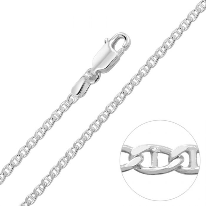 Sterling Silver 2mm Diamond Cut Marina Chain Necklace