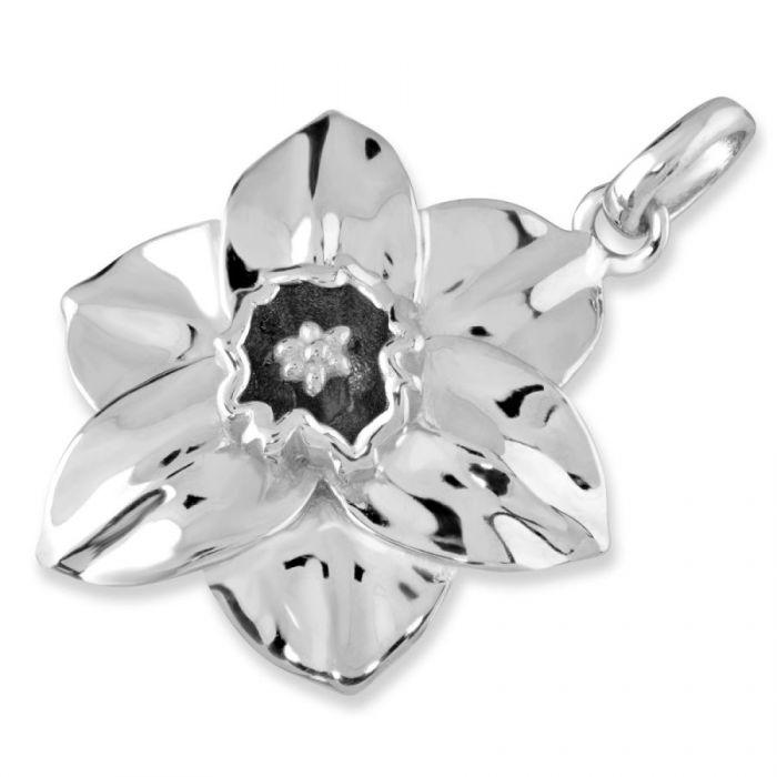Sterling Silver Narcissus December Flower Pendant
