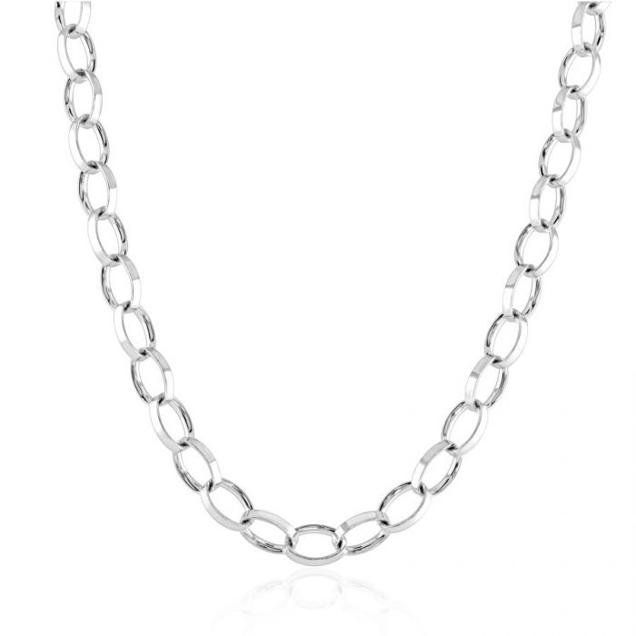 Sterling Silver 4.9mm Oval Belcher Chain Necklace