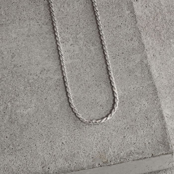 Sterling Silver 1.8mm Diamond Cut Rope Chain Necklace