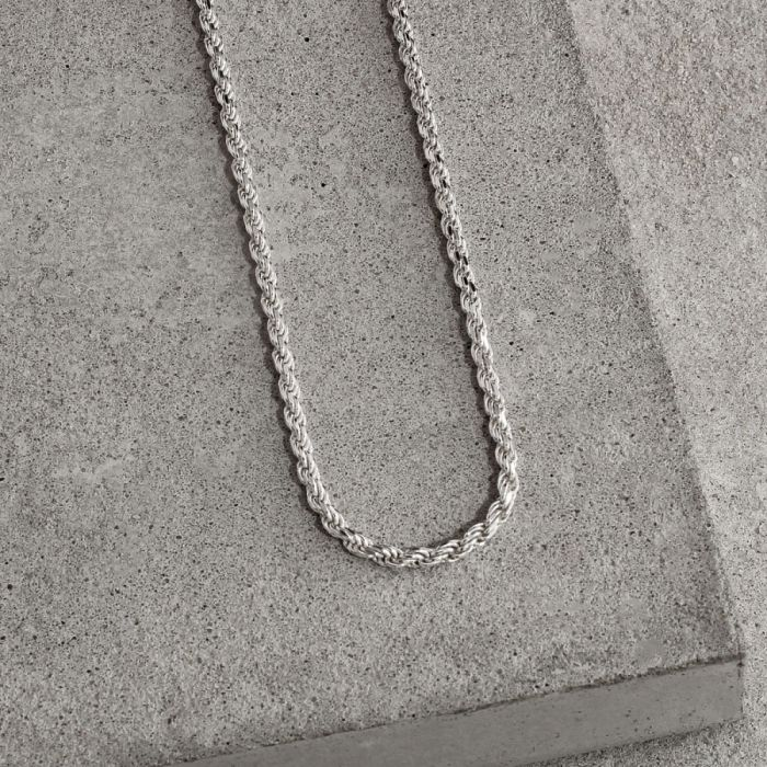 Sterling Silver 2.3mm Diamond Cut Rope Chain Necklace