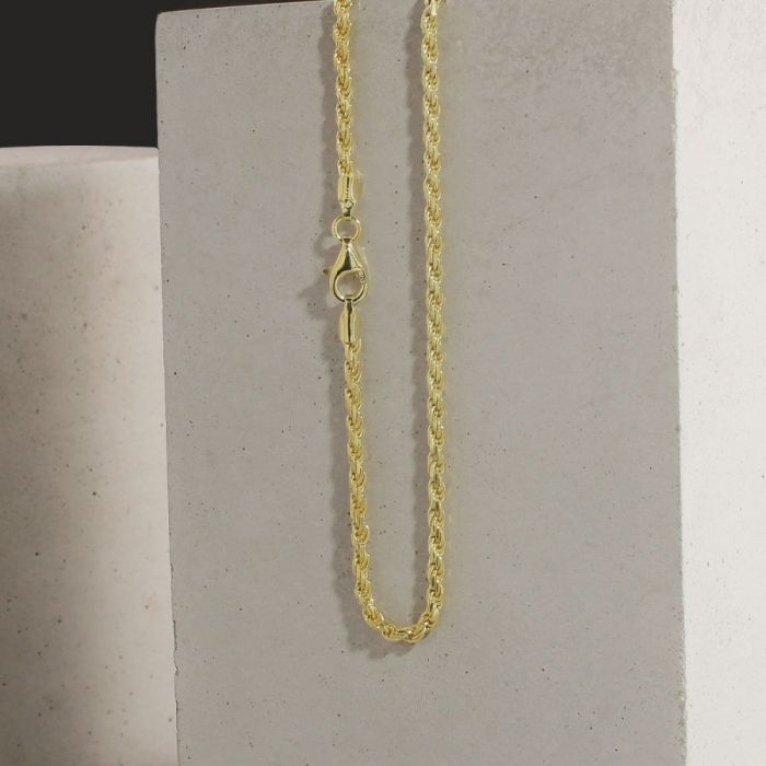 9ct Yellow Gold Plated 2.3mm Diamond Cut Rope Chain Necklace