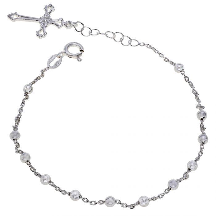 Sterling Silver Rosary Cross Beaded Trace Bracelet Extendable