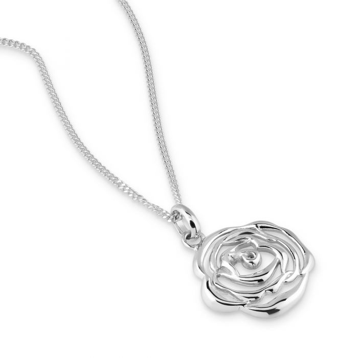 Sterling Silver JUNE ROSE Necklace with Curb Chain