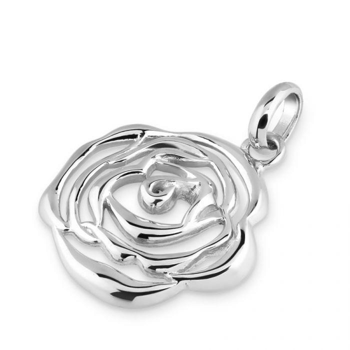 Sterling Silver Rose June Flower Pendant