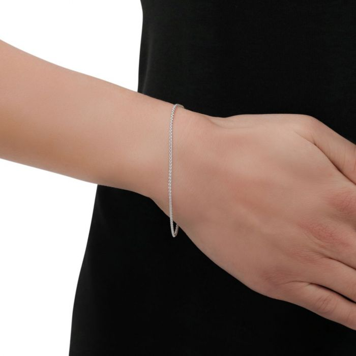 Sterling Silver 1.3mm Spiga Wheat Link Bracelet