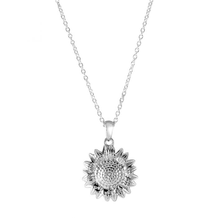 Sterling Silver SUNFLOWER Necklace with Cable Chain