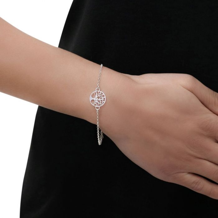 Sterling Silver Tree Of Life Extendable Belcher Bracelet