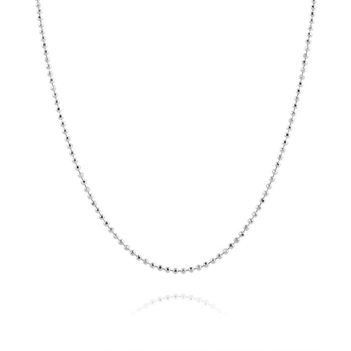 Sterling Silver 1.5mm Diamond Cut Ball Bead Chain Necklace