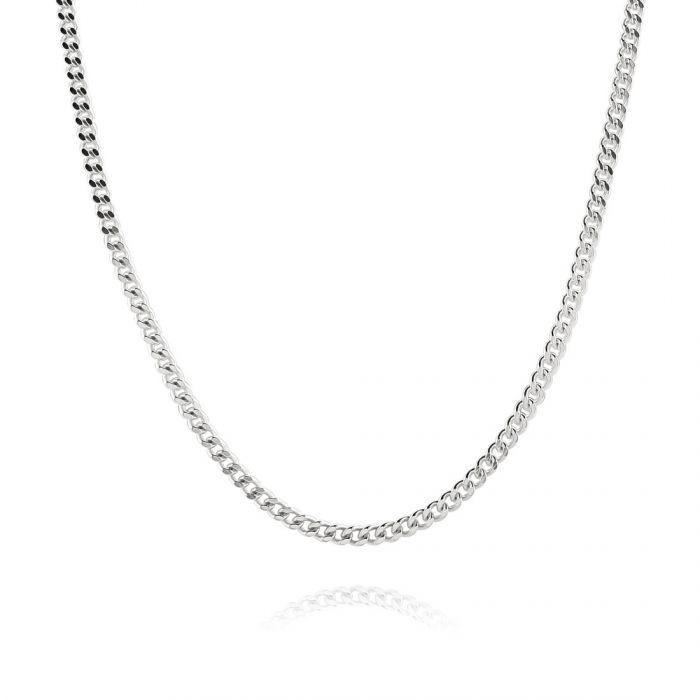 Sterling Silver 2.4mm Diamond Cut Curb Chain Necklace