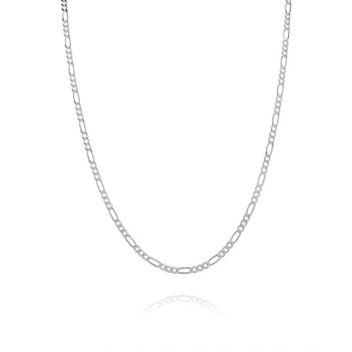 Sterling Silver 2.1mm Diamond Cut Figaro Chain Necklace