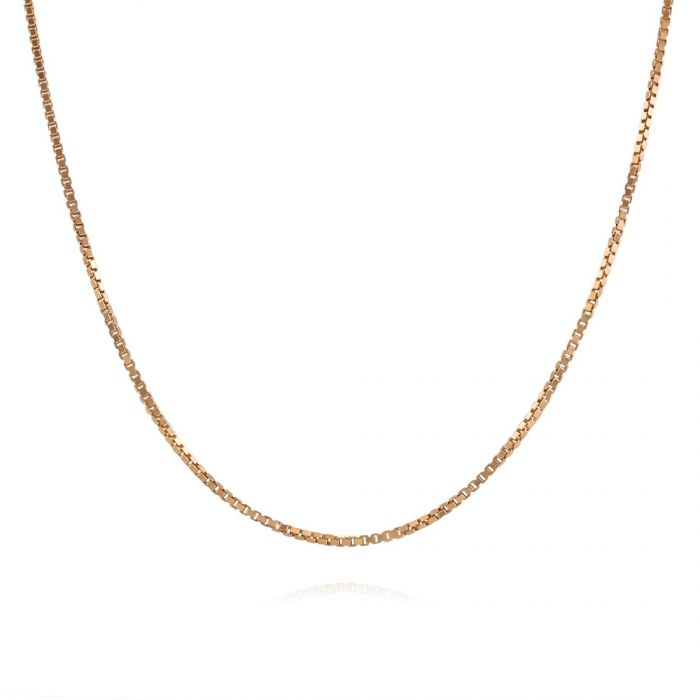 9ct Rose Gold plated  1mm Box Chain Necklace