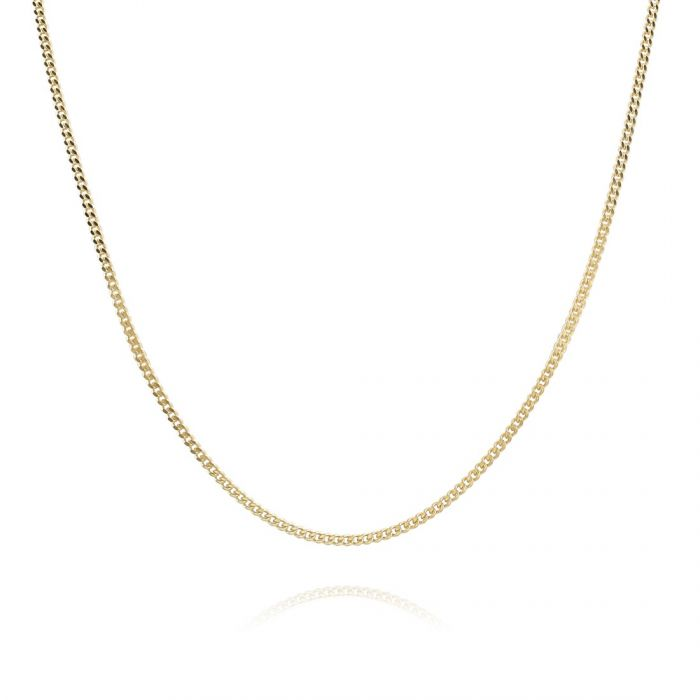 9ct Yellow Gold plated 1.2mm Diamond Cut Curb Chain Necklace