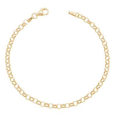 Yellow Gold Plated Sterling Silver 3.4mm Belcher Link Bracelet
