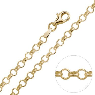 9ct Yellow Gold Plated 3.4mm Belcher Rolo Chain Necklace