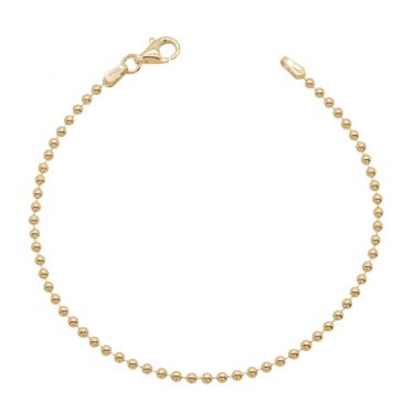 Yellow Gold Plated Sterling Silver 2mm Ball Bead Link Bracelet