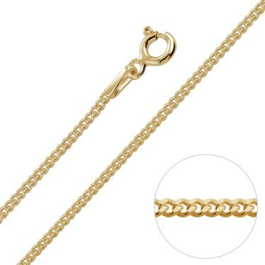 9ct Yellow Gold Plated 1.5mm Diamond Cut Curb Chain Necklace