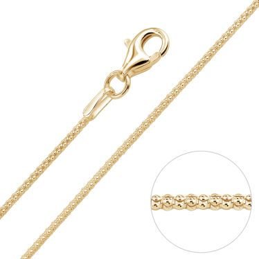 9ct Yellow Gold Plated 1.2mm Popcorn Chain Necklace