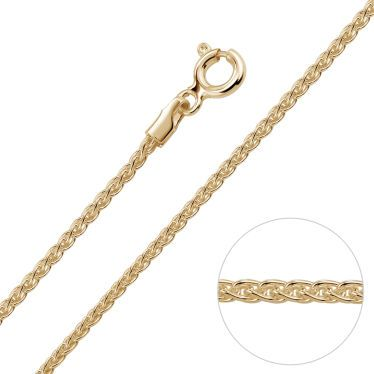 9ct Yellow Gold Plated 1.3mm Spiga Wheat Chain Necklace