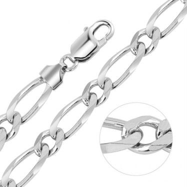 Sterling Silver 7.6mm Victorian Figaro Curb Chain Necklace