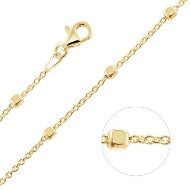 Yellow Gold Plated Sterling Silver 1.2mm Cable Chain Bobble Necklace With Cube Beads