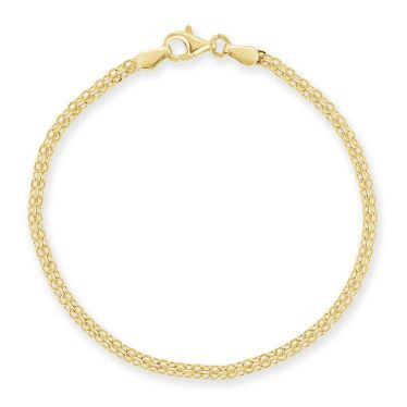 Yellow Gold Plated Sterling Silver 2.4mm Bismark Bracelet