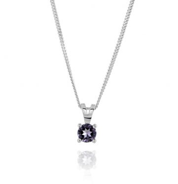 Sterling Silver June Light Amethyst Birthstone Necklace with Curb Chain
