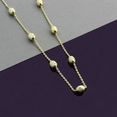 9ct Yellow Gold Plated Sterling Silver Oval Beaded Diamond Cut Trace Chain Necklace