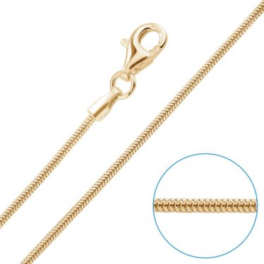 9ct Yellow Gold Plated 1.2mm Snake Chain Necklace
