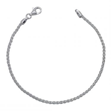 Sterling Silver 1.9mm Spiga Wheat link bracelet with lobster clasp - Click to magnify