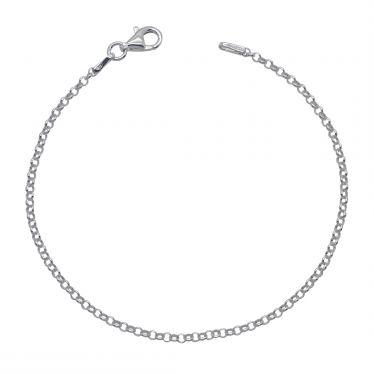 Sterling Silver 2mm Belcher link bracelet with lobster clasp - Click to magnify