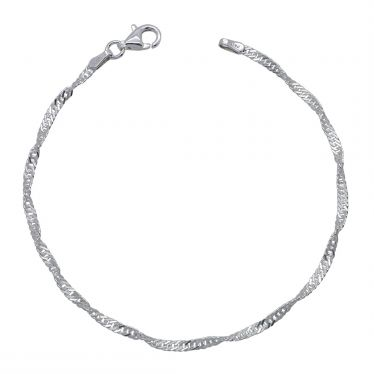 Sterling Silver 2mm diamond cut Singapore link bracelet with lobster clasp - Click to magnify