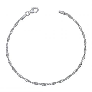 Sterling Silver 2mm Loose Rope / Prince Of Wales link bracelet with lobster clasp - Click to magnify