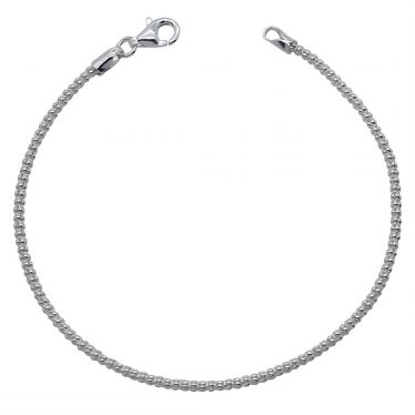 Sterling Silver 2mm Popcorn link bracelet with lobster clasp - Click to magnify
