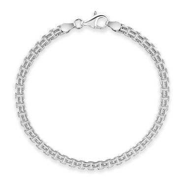 Sterling Silver 3.9mm Double Box Bracelet Diamond Cut