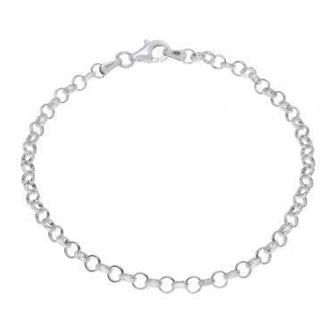 Sterling Silver 3.4mm Belcher link bracelet with lobster clasp - Click to magnify